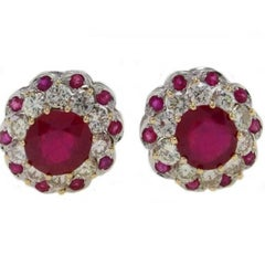 2.05 Carat Diamond and 5.29 Carat Ruby Gold Earrings