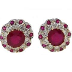 Luise Diamond Ruby  Gold Earrings