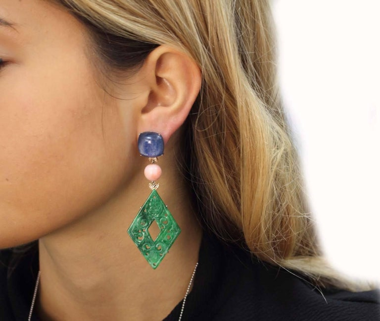 Rose Gold, Kyanite, Coral, Malachite Dangle Earrings In Good Condition For Sale In Napoli, IT