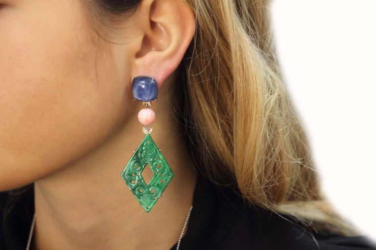 Rose Gold, Kyanite, Coral, Malachite Dangle Earrings For Sale 1