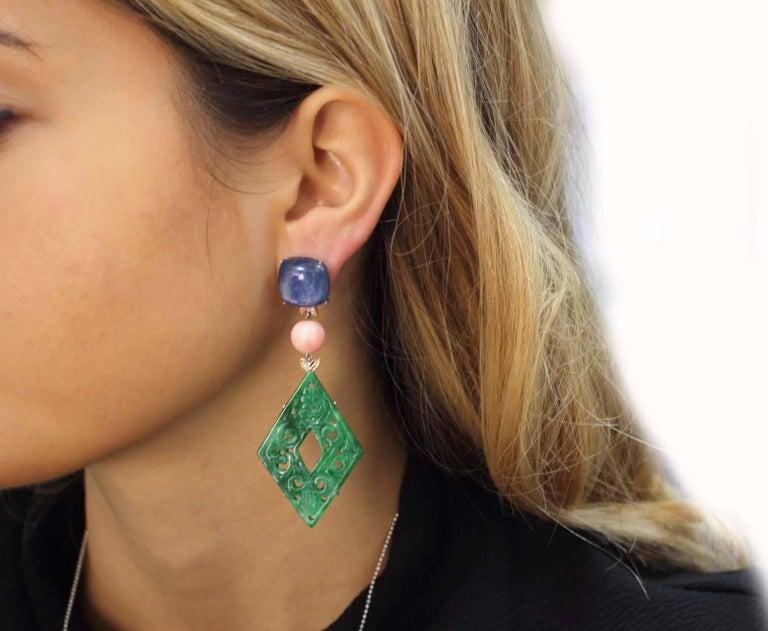Women's or Men's Rose Gold, Kyanite, Coral, Malachite Dangle Earrings For Sale