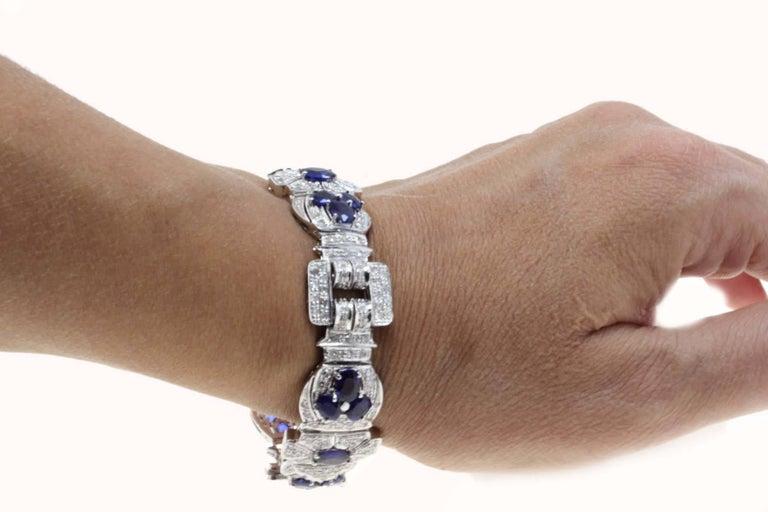 Diamonds Art Deco White Gold and Sapphires Bracelet For Sale 2