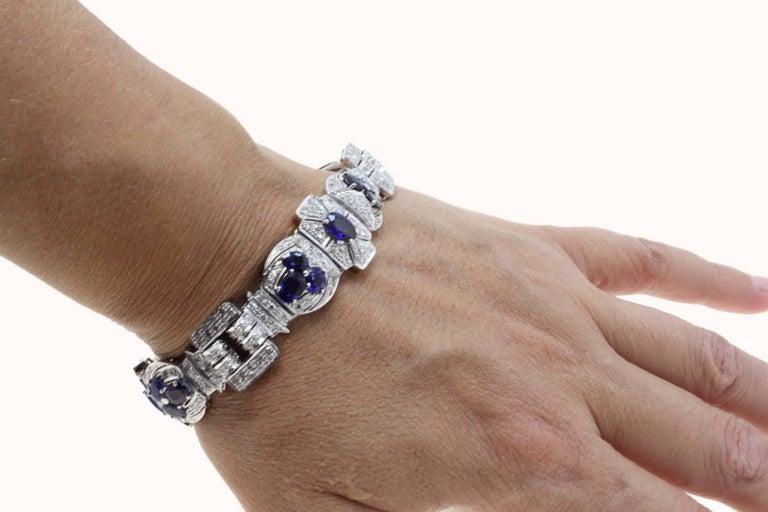 Women's or Men's Diamonds Art Deco White Gold and Sapphires Bracelet For Sale