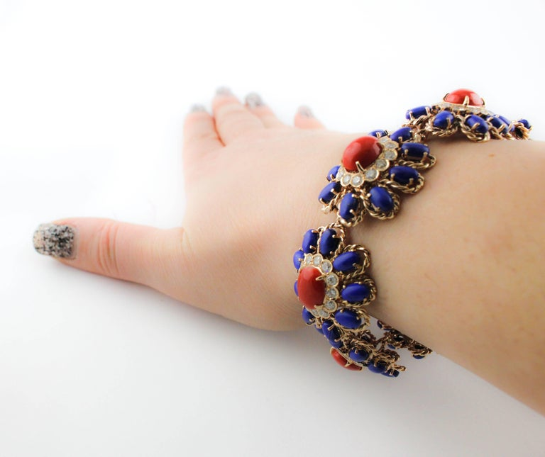 Women's Lapis Coral Diamond Gold Floral Cluster bracelet For Sale