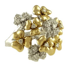 Diamond Rose and White Gold Flower Ring