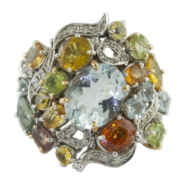 Diamonds Multi-Color Sapphires Aquamarines White Gold Cocktail Ring