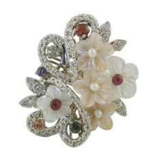 Diamonds Multi-Color Sapphires Little Pearls Mother-of-Pearl Gold Fashion Ring