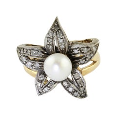 Diamonds Pearl Rose Gold and Silver Fashion Ring
