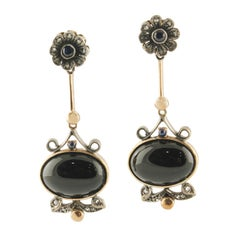 Diamonds Blue Sapphires Onyx Rose Gold and Silver Earrings