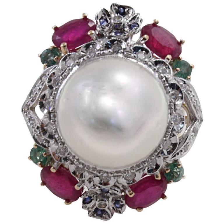 Diamond Ruby Emerald Pearl Gold Ring