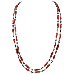 Red Corals, Onyx, White Gold Multi-Strand Necklace or Bracelet
