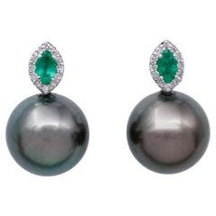 Emeralds, White Diamonds,14 Karat White Gold Stud Earrings