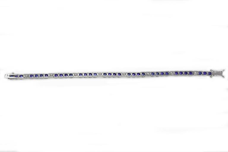 Retro  Sapphire Diamond Gold Tennis Bracelet For Sale