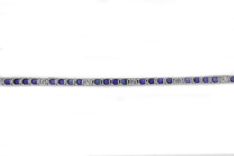 Sapphire Diamond Gold Tennis Bracelet In New Condition For Sale In Napoli, IT