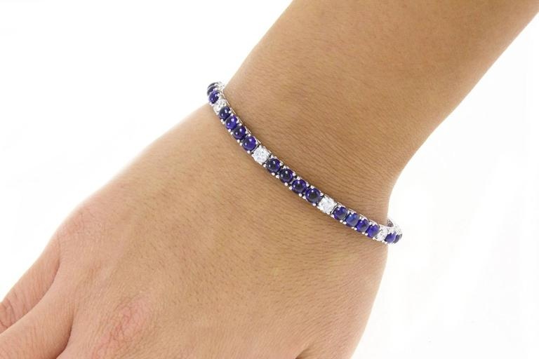 Sapphire Diamond Gold Tennis Bracelet For Sale 1