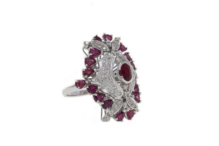 Retro  Ruby Diamond Gold Dome Ring For Sale