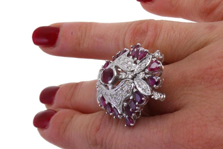 Women's  Ruby Diamond Gold Dome Ring For Sale
