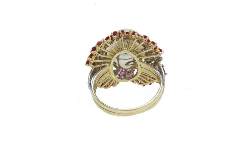 Retro Australian Pearl Sapphire Ruby Diamond Gold Dome Ring For Sale