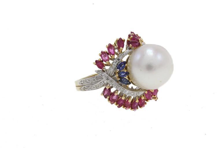 Women's Australian Pearl Sapphire Ruby Diamond Gold Dome Ring For Sale