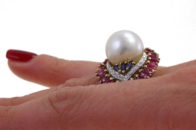 Australian Pearl Sapphire Ruby Diamond Gold Dome Ring For Sale 1