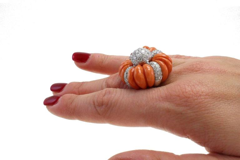 Retro Luise Cinderella Pumpkin Coral Diamond Gold Ring For Sale