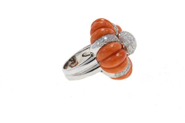 Luise Cinderella Pumpkin Coral Diamond Gold Ring 4