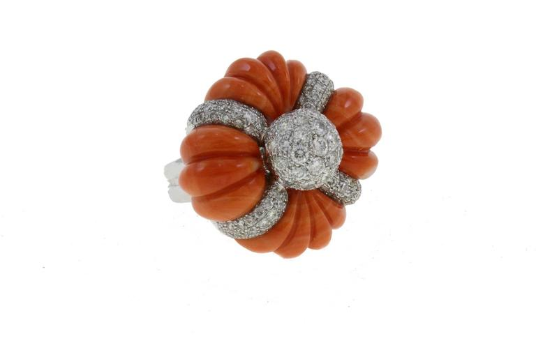 Women's Luise Cinderella Pumpkin Coral Diamond Gold Ring For Sale