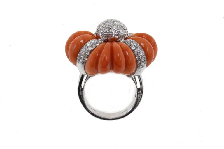 Luise Cinderella Pumpkin Coral Diamond Gold Ring For Sale 1