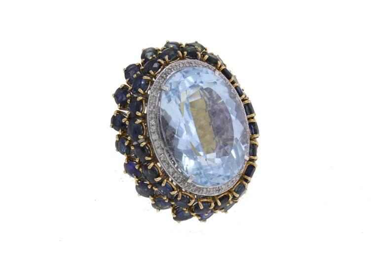 Luise Blue Topaz Diamond Sapphire Gold Ring 2