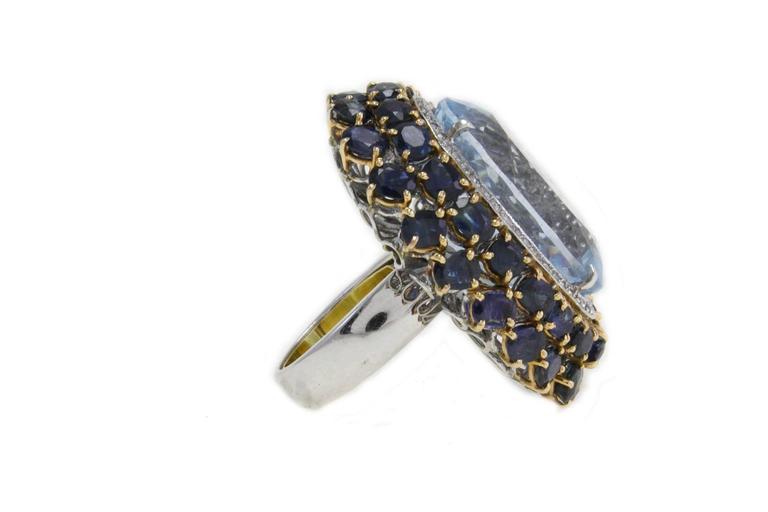 Luise Blue Topaz Diamond Sapphire Gold Ring 3