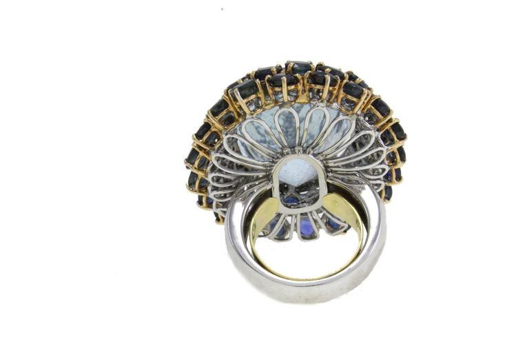 Luise Blue Topaz Diamond Sapphire Gold Ring 4