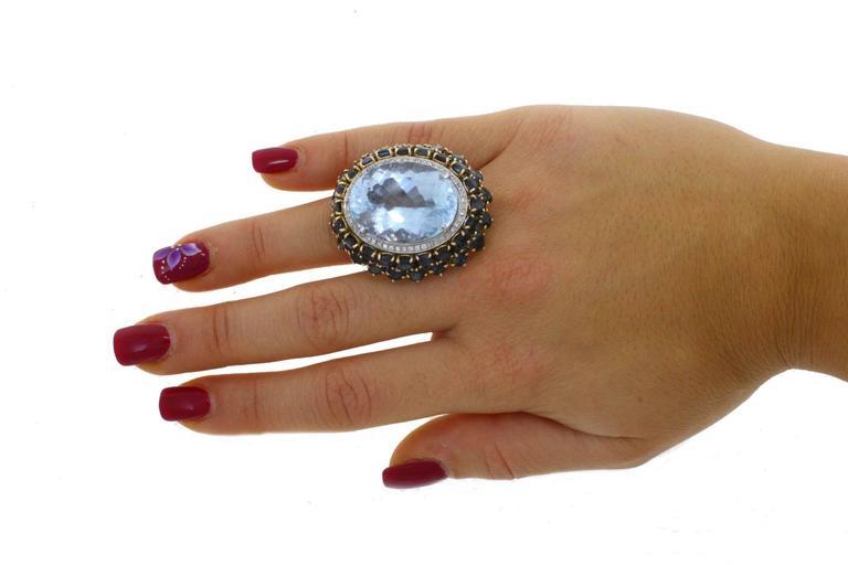 Luise Blue Topaz Diamond Sapphire Gold Ring 5
