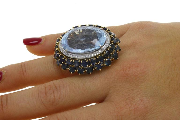 Luise Blue Topaz Diamond Sapphire Gold Ring 6