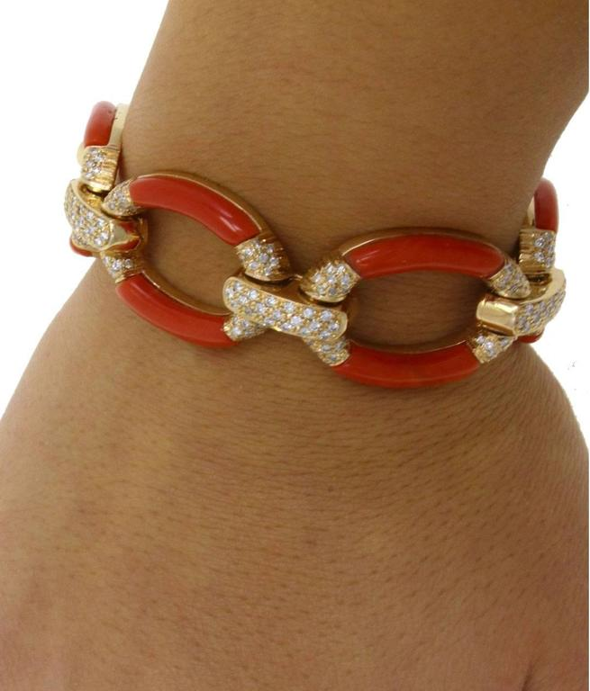 Women's ct 3,60 Daimond Coral Yellow Gold Bracelet For Sale