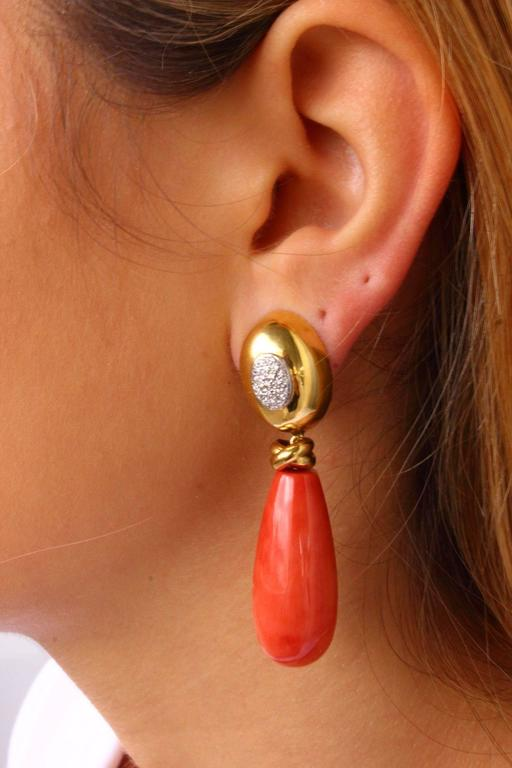 Women's  Teardrop Coral Diamond Gold Earrings For Sale