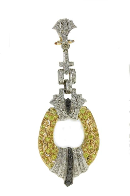 Luise Black & White Diamond, Sapphire, White & Yellow Gold Chandelier Earrings 2