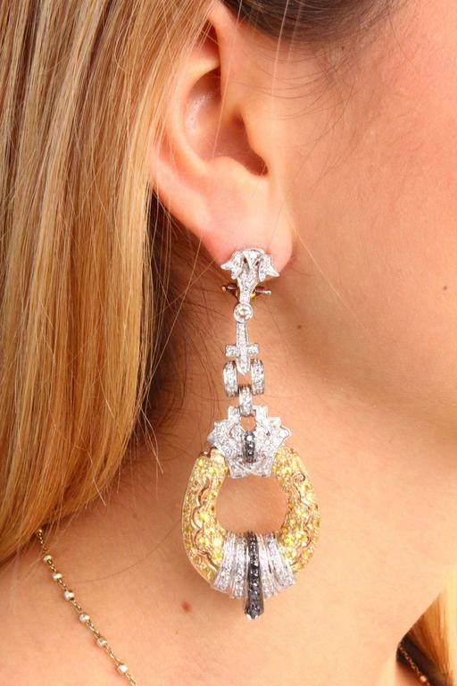 Luise Black & White Diamond, Sapphire, White & Yellow Gold Chandelier Earrings 4