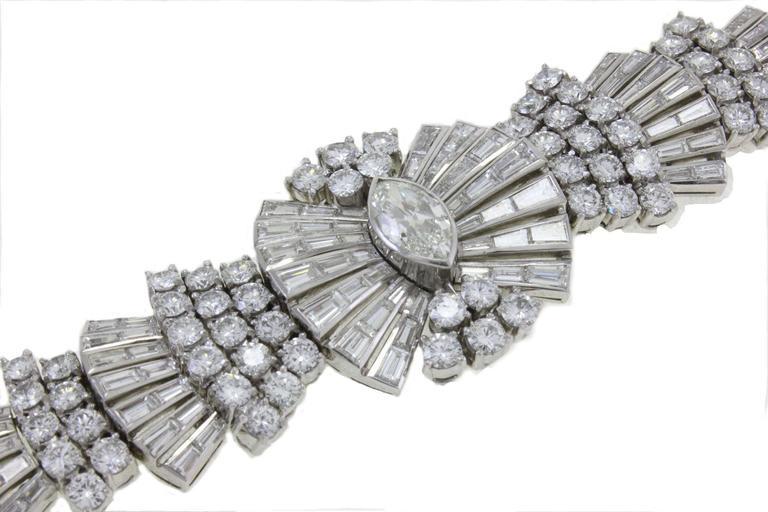 Women's Retro Diamond Platinum Bracelet For Sale