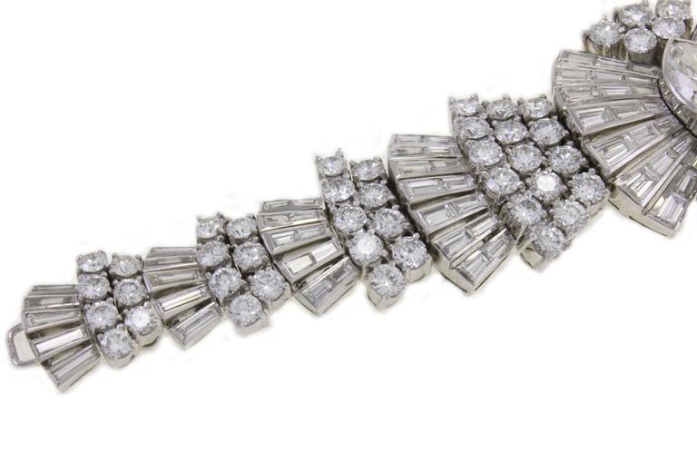 Retro Diamond Platinum Bracelet For Sale 1