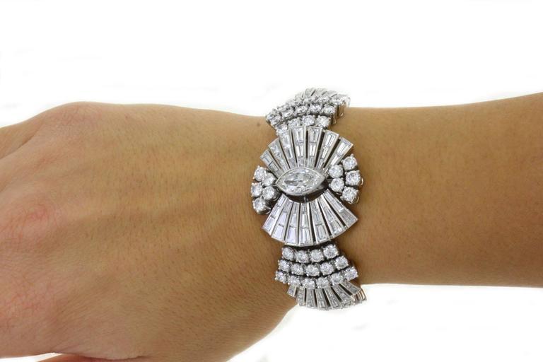 Retro Diamond Platinum Bracelet For Sale 2
