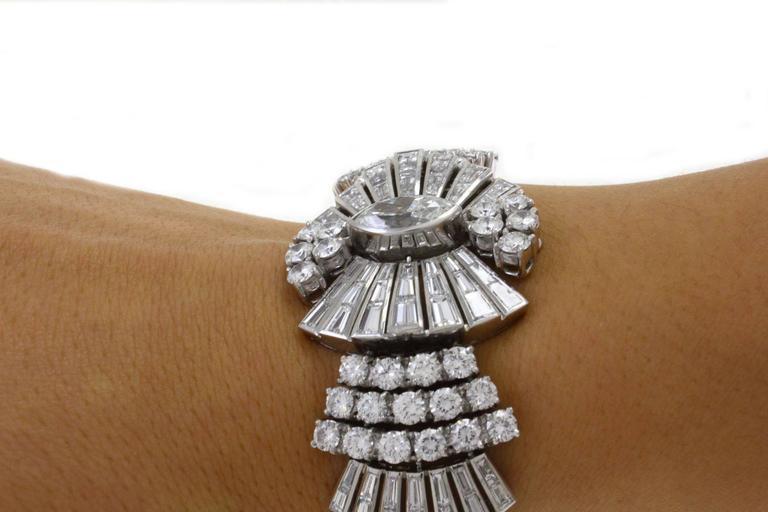 Retro Diamond Platinum Bracelet For Sale 3
