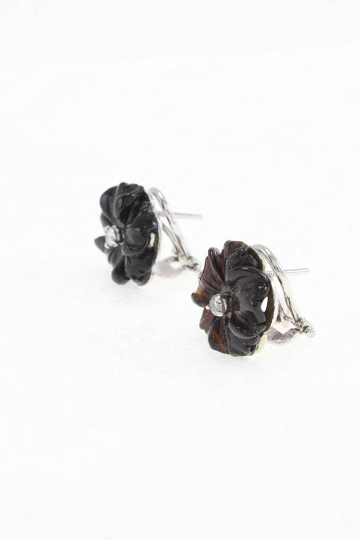 Luise Diamond & Black Agate Daisy Earrings 2