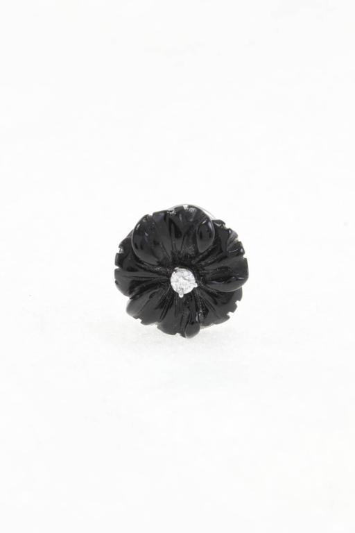 Luise Diamond & Black Agate Daisy Earrings 3