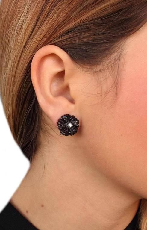 Luise Diamond & Black Agate Daisy Earrings 4