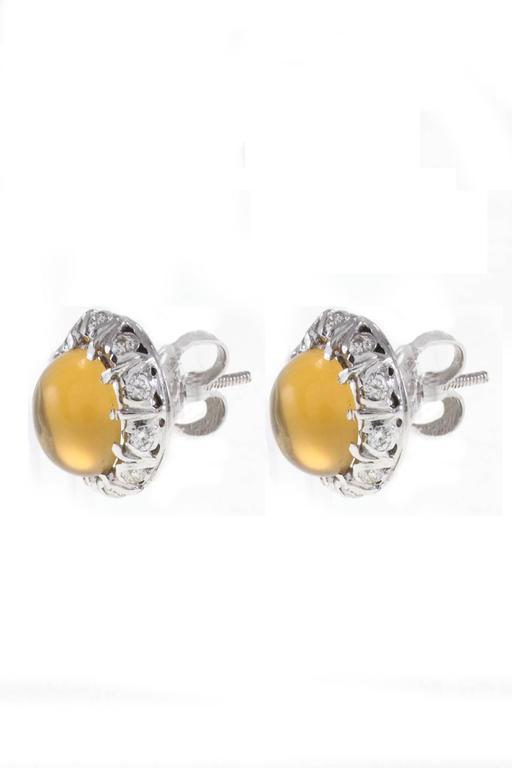 Luise Topaz Diamond White Gold Earrings 2