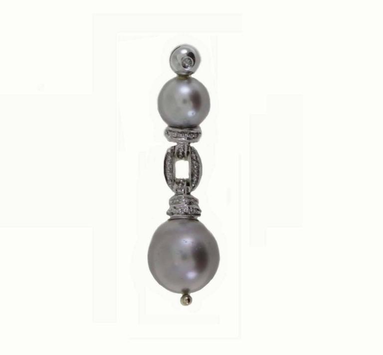 Grey Pearl Diamond Gold Pendant