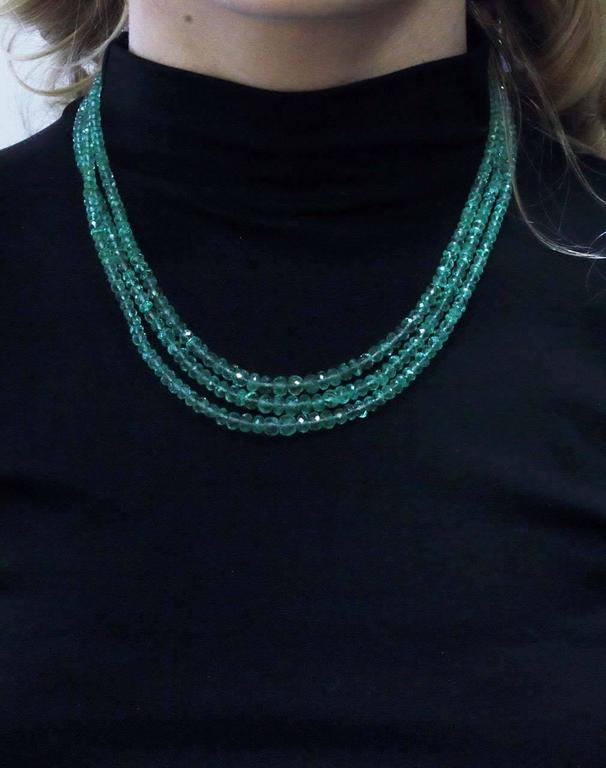 Multi Strands High Quality  Emeralds Choker Gold Necklace For Sale 1