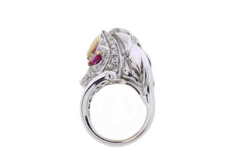 Retro Stylized Ruby Diamond Gold Lion Ring For Sale