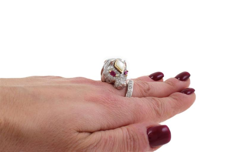 Women's Stylized Ruby Diamond Gold Lion Ring For Sale