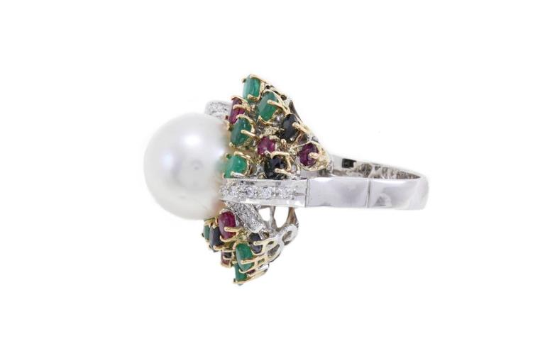 Retro Multi-Colored Australian Pearl Two-Color Gold Ring For Sale